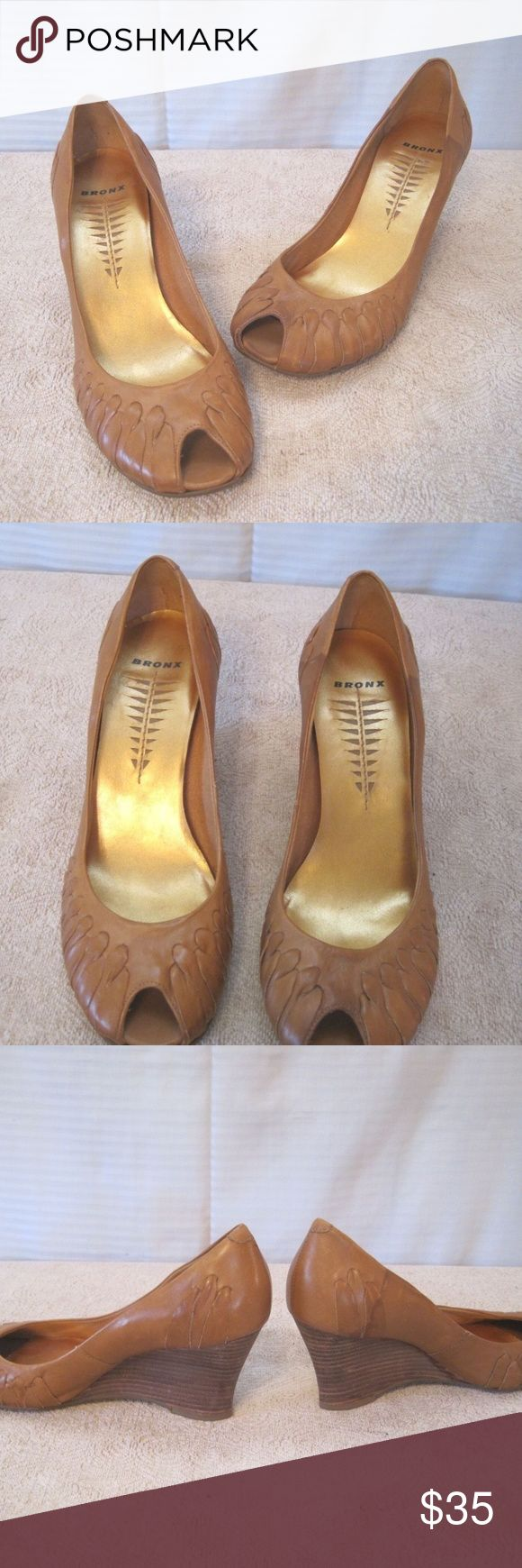 "Camel Brown Leather Wedge Heel Shoes- Women's Bronx Camel Brown Leather Wedge Heel Shoes- Size 8M- Made in Brazil  Good overall condition. Minor wear present on soles.  Measures approximately:   3"" tall heel. Bronx Shoes Platforms"