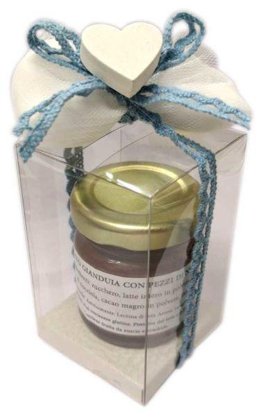 Barattolino con crema di cioccolato gusti a scelta completo di confetti e nastro celeste