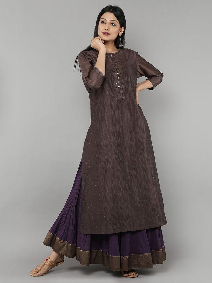 Brown Chanderi Kurta with Purple Cambric Lehenga - Set of 2