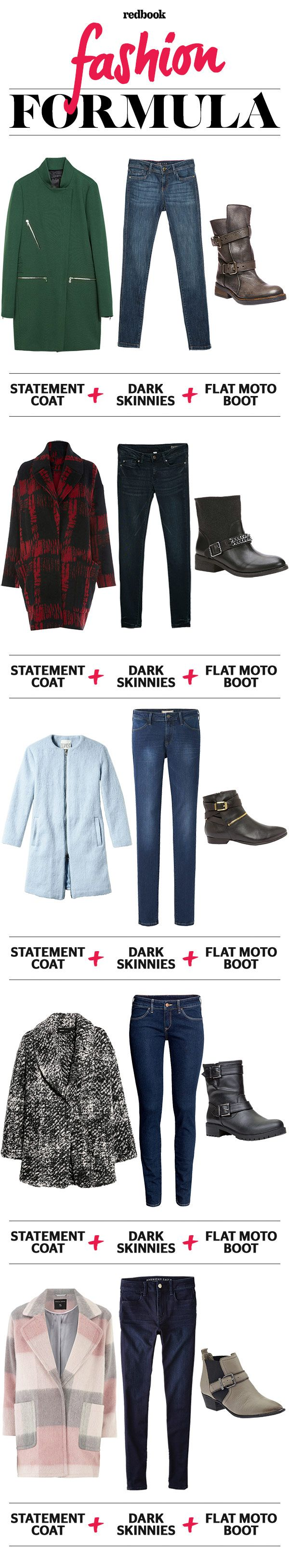 Statement Coat, Skinny Jeans and Moto Boots - Winter Outfit Ideas - Redbook