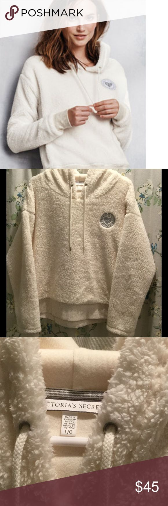 VS Boxy Cropped Sherpa Hoodie - Large White Sherpa boxy cropped Victoria's Secret hoodie. Worn once. Perfect condition. No flaws. Silver threaded Logo on front. Extremely soft. Fleece is on the outside and a very soft Tee shirt material inside. Very warm. No trades. Victoria's Secret Tops Sweatshirts & Hoodies
