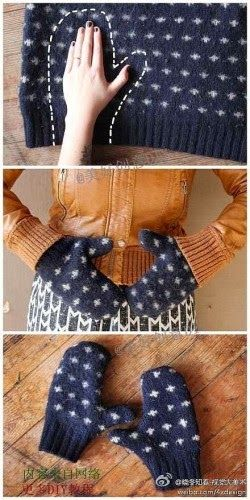 guantes con jersey reciclado- this is so clever! Looks like and old sweater that someone turned into cute mittens!!!