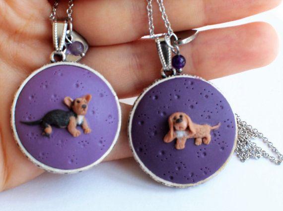 Custom portrait necklace dog portrait by ModelinaClayStories