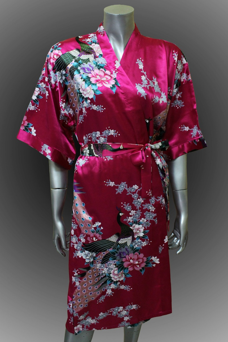 Bridesmaid Silk Robes Amaranth Painting Peacock Design Gown Robe  ( Free Size)