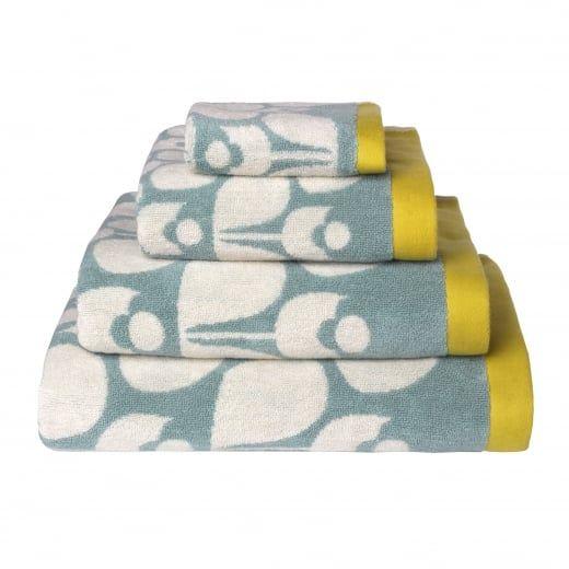 Orla Kiely House Wallflower Duck Egg Blue Towels