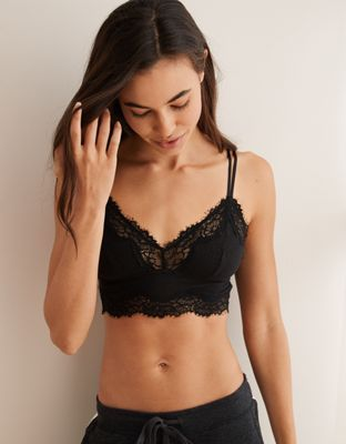4051eee4b8 Aerie Ribbed Holiday Lace Longline Bralette by American Eagle Outfitters