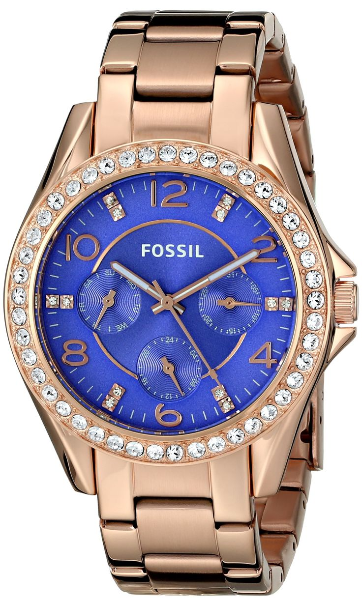 Women's Fossil Riley Analog Display Quartz Rose Gold Watch With Blue Face