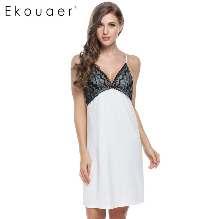 Ekouaer Hot Sales Night Gown Women Sexy Sleep dress Sleeveless Home Clothes V-neck Lace Summer Sleepshirt Nightwear Plus Size
