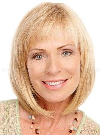 Hairstyles Over 50 Bob Haircut With Bangs And Shoulder