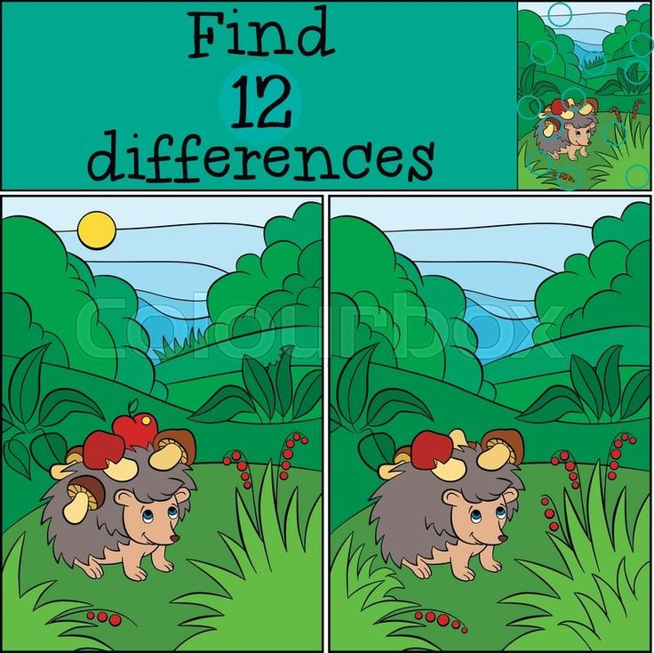 Stock vector of 'Children games: Find differences. Little cute hedgehog stands in the clearing with mushrooms on the needles.'