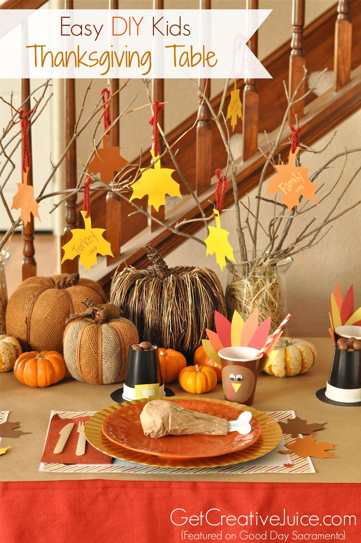 Easy fun and cute kids thanksgiving table craft tutorials - place cards,  decorations, place settings, centerpiece ideas and more! step by step  tutorial to ...