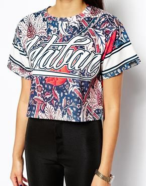Image 3 ofIchiban Cropped T-Shirt With Floral Varsity Print