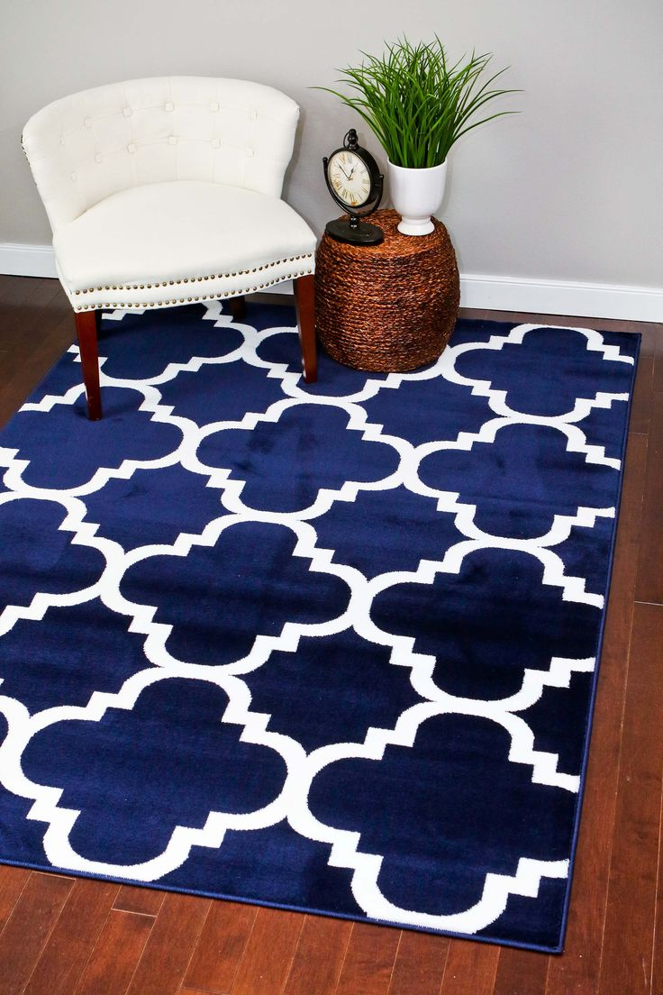 Navy Blue Moroccan Trellis Area Rugs - Bargain Area Rugs
