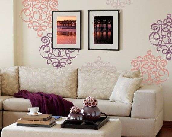Damask Wall Stencil in Modern Ribbon Style by royaldesignstencils, $39.00 Love how its scattered and not repeating pattern.