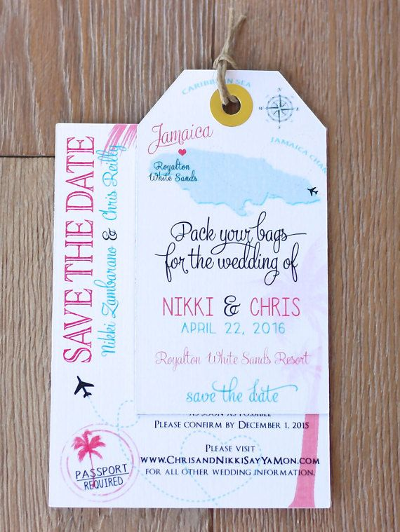 Wedding invitation Jamaica Save the Date Luggage Tag Magnet with Information card set. Map. Destination Wedding. Aqua Blue and Coral