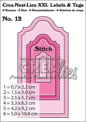Crea-Nest-Lies XXL Labels & Tags stansen/dies no. 12, Met stiksteeklijn/With stitch line