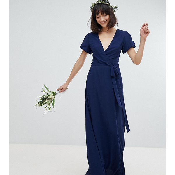 TFNC Wrap Maxi Bridesmaid Dress With Tie Detail And Puff Sleeves (5.875 RUB) ❤ liked on Polyvore featuring dresses, navy, wrap dress, party dresses, bodycon maxi dress, bodycon dresses and navy bridesmaid dresses