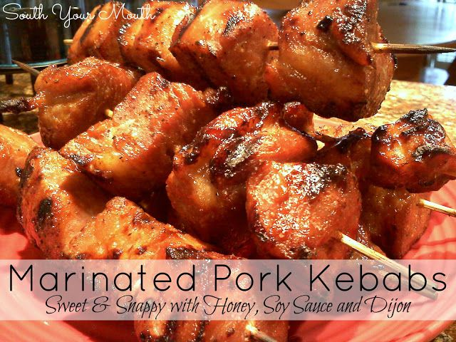 Marinated Pork Kebabs... something different! They've got a little sweet and a little heat with honey, soy sauce, garlic and dijon!