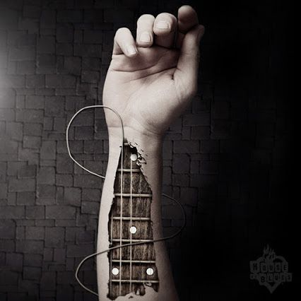 Music runs through my veins | Guitar | Tattoo | Arm