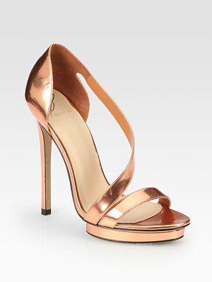 B Brian Atwood  Consort Metallic Leather Asymmetrical Platform Sandals
