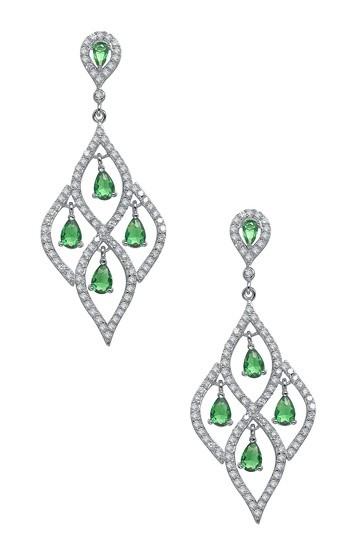 Clear & Emerald Pave CZ Chandelier Earrings by Oscar Glam: Jewelry Event on @HauteLook