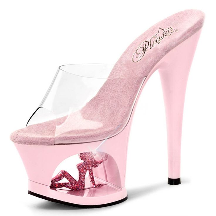 Pale Pink Heels with Sparkling Trucker Girl in Cutout Platform and 7 Inch Heel Size: 8. Women's sizing flirty pale pink slide sandals. Pale pink base with 7 inch heels and 2.75 inch cutout platform. Clear top strap. Sparkling hot pink trucker girl cutout silhouette in platform.