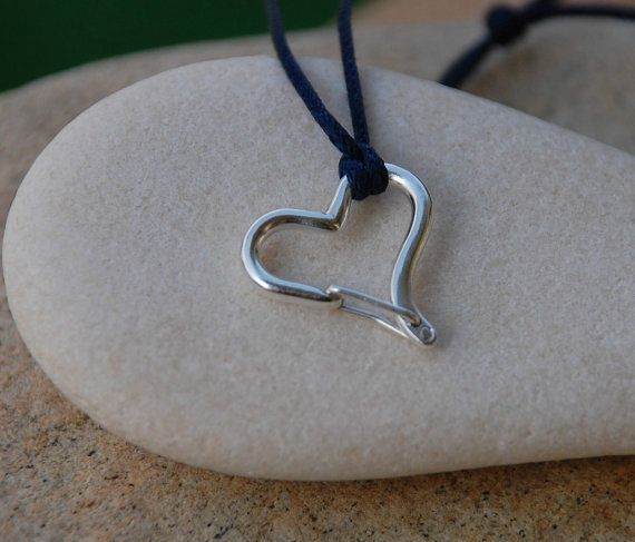 Heart Shaped Climbing Carabiner Necklace in by CocoClimbingJewelry