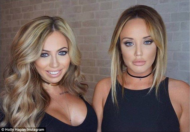 Unrecognisable: Geordie Shore star Holly (left) wasnn't letting any criticism over her looks get to her last week, hitting back at one Facebook user who scorned at her plastic surgery in a photo she shared with Charlotte Crosby (right)