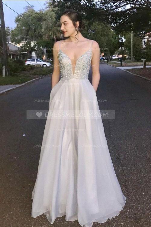 Elegant Beading Spaghetti Straps Sleeveless Floor-Length Chiffon Evening Dress #eveningdress #eveningdresses #eveninggown #eveninggowns #promdress #pr...