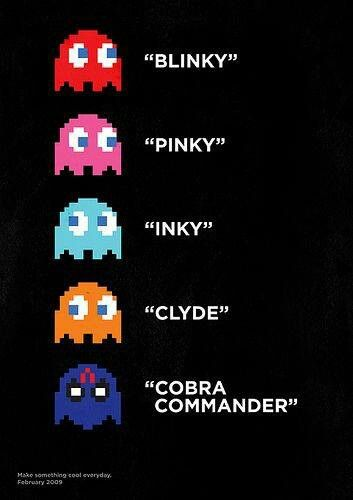 Pac Man ghosts and Cobra Commander