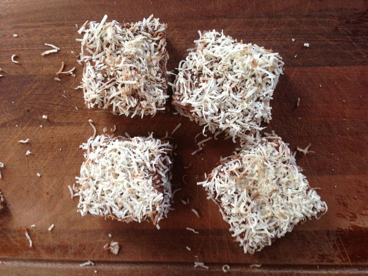 Sugar-free lamingtons - I often have these ingredients on hand. Hooray!