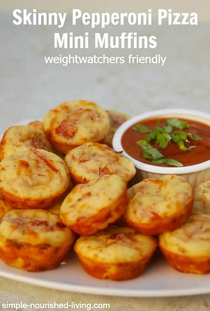 Skinny Pepperoni Pizza Mini Muffins. Easy + Delicious with 29 calories and 1 WWPP make a perfect Weight Watchers Friendly Super Bowl Snack. #weightwatchers #recipe #superbowl http://simple-nourished-living.com/2015/01/skinny-pepperoni-pizza-mini-muffins-recipe/