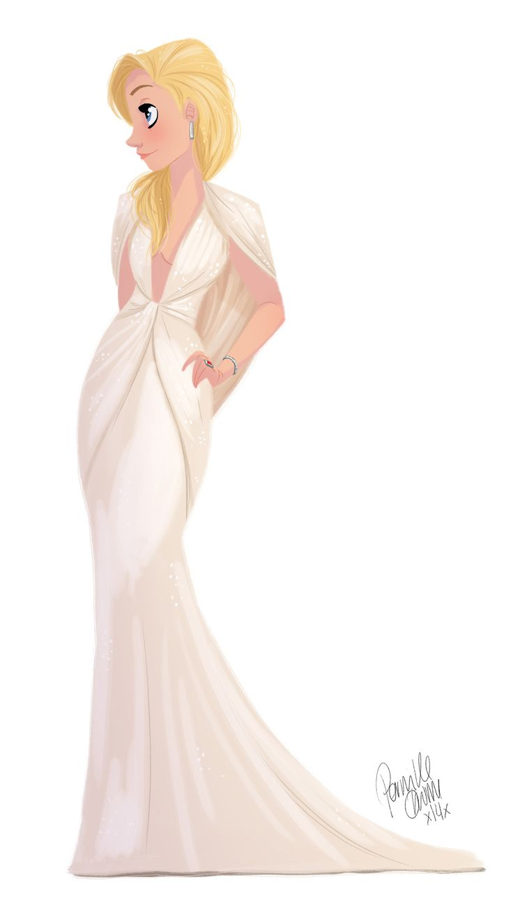 "Blond Hair Girl illustration, Elegant White Dress / Illustrazione ragazza bionda, vestito lungo elegante bianco - Art by Pernille, ""The beautiful Kate Hudson"""
