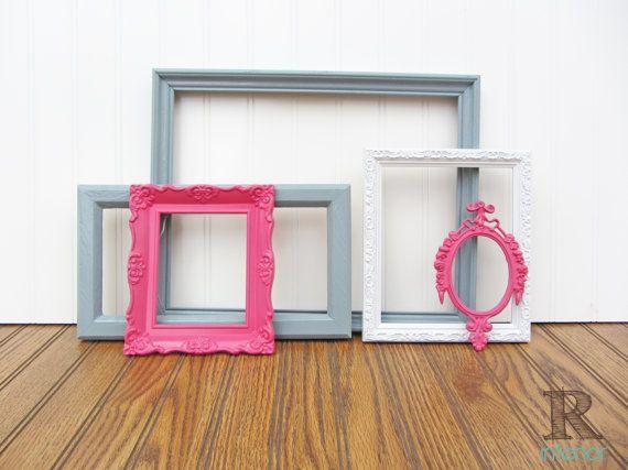 SALE Pink Painted Frame Set of 5 Pink Gray White Upcycled Ornate Vintage Gallery Wall Frame Set - Girl Nursery Decor - Big Girl Room - Dorm