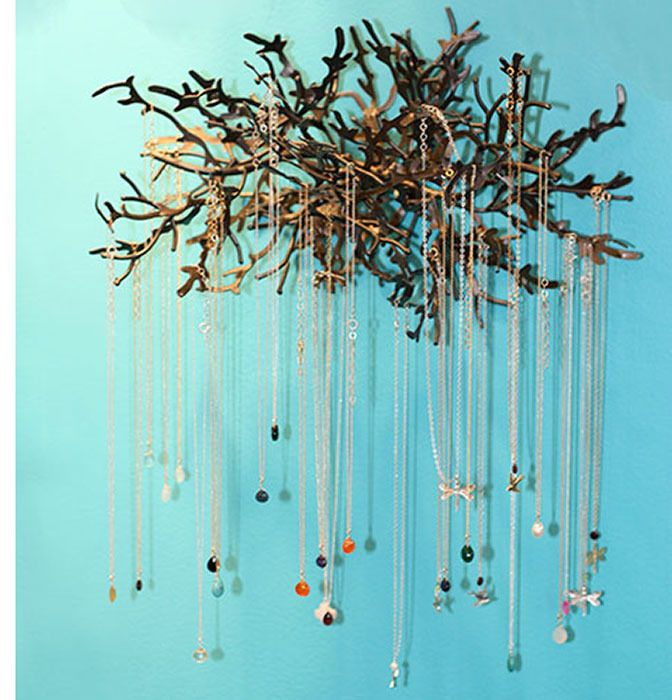 Wall Mounted Tree Jewelry Display - Always looking for ideas to organize my mess of necklaces.  Liking this!