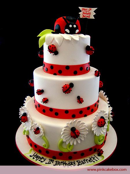 Ladybug Themed Birthday Cake by Pink Cake Box in Denville, NJ.  More photos at http://blog.pinkcakebox.com/ladybug-birthday-cake-2010-04-02.htm  #cakes