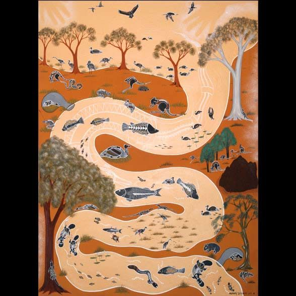Dreamtime Painting by Peter Muraay Djeripi Mulcahy
