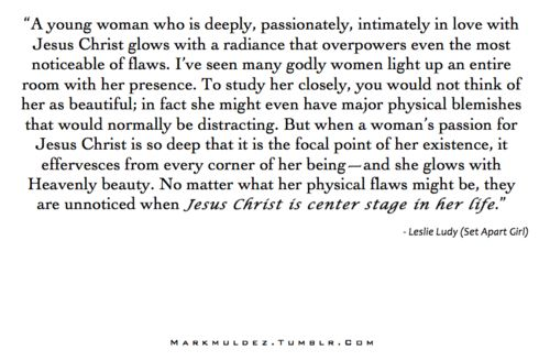The radiance of Christ in a young lady - quote by Leslie Ludy