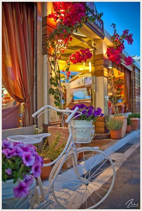 Vibrant colors in the streets of Ermioni/Peloponnese as the night falls. Greece