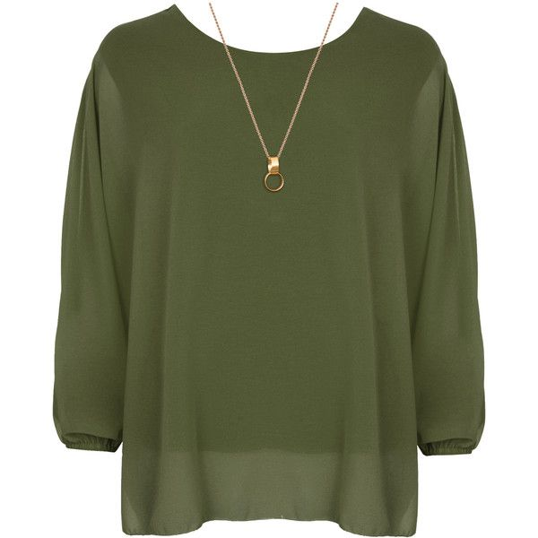 Nora Baggy Batwing Sleeve Necklace Top (£20) ❤ liked on Polyvore featuring tops, shirts, khaki, plus size, double layer top, neon green top, batwing sleeve tops, layered tops and chiffon tops