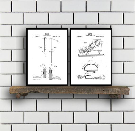 Hockey Patents Set of 2 Prints, Hockey Prints, Hockey Posters, Hockey Blueprints, Hockey Art, Hockey Wall Art, Sport Prints, Sport Art,Sp296 by STANLEYprintHOUSE  6.00 USD  These posters are printed using high quality archival inks, and will be of museum