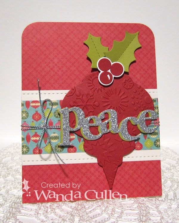 This card is for the new Retrosketches #241 challenge.  It's been a LONG time since I've used this Spellbinder ornament die.  I kept it plain and simple and dry embossed with a snowflake folder by Sizzix.  I topped it off with the Holly Confetti Cuts by Reverse Confetti.  The sentiment die is by Papertrey Ink - cut twice with Simply Chartreuse CS (PTI) and once with a silver glitter CS. Patterned papers are from My Mind's Eye 12 Days of Christmas 6x6 pad.