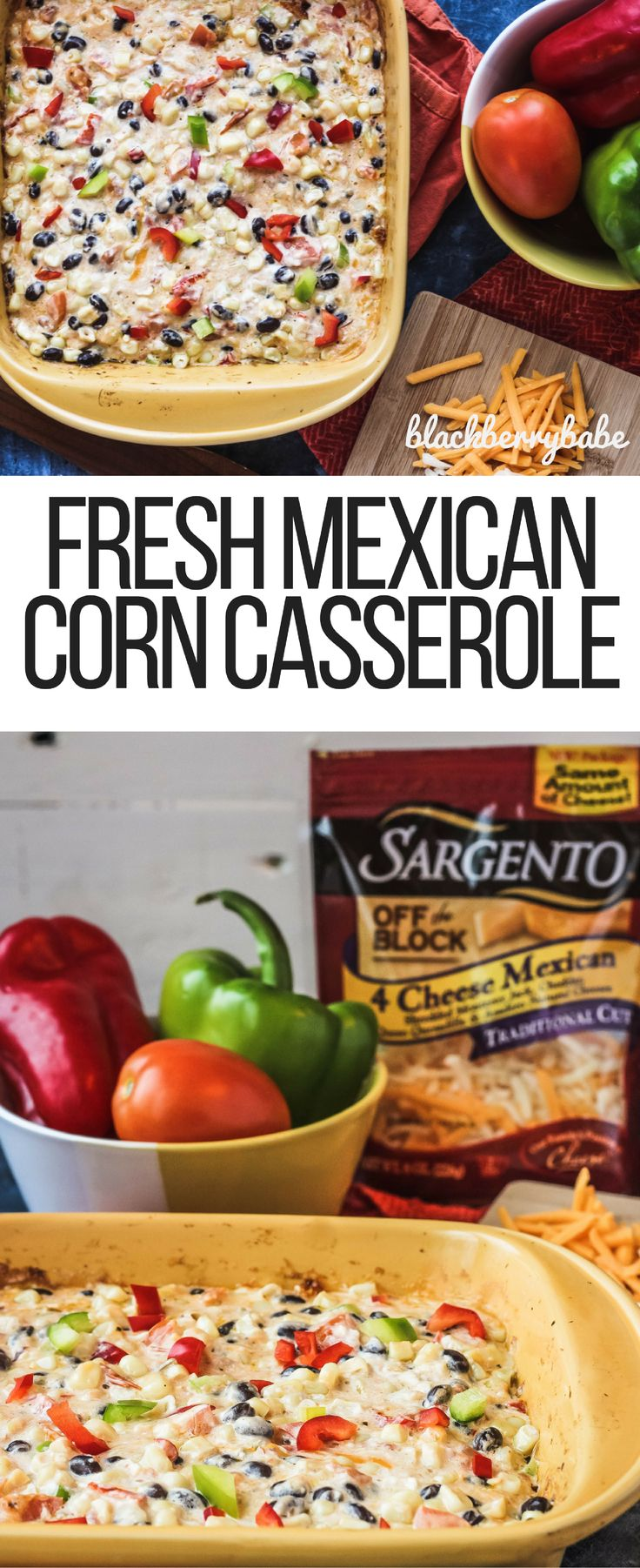 #ad Fresh Mexican Corn Casserole made with @SargentoCheese  Mexican Corn Bake  Cheesy Corn  Cheesy Side Dish   Cheesy Corn Casserole  Cream Cheese Corn Casserole   Corn Side Dish   Baked Corn  AD  #RealCheesePeople #IC