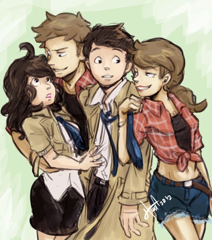el-the-supernatural-shadowhunter:  Supernatural Saturday: 2 I loved the fact that it has gender swap Destiel in it as well.  Credithttp:msloveless //msloveless.deviantart.com/art/Destiel-Counterparts-340328482