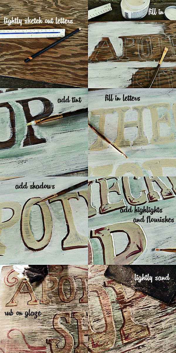 DIY Vintage painted sign. how to get an antique look in an instant