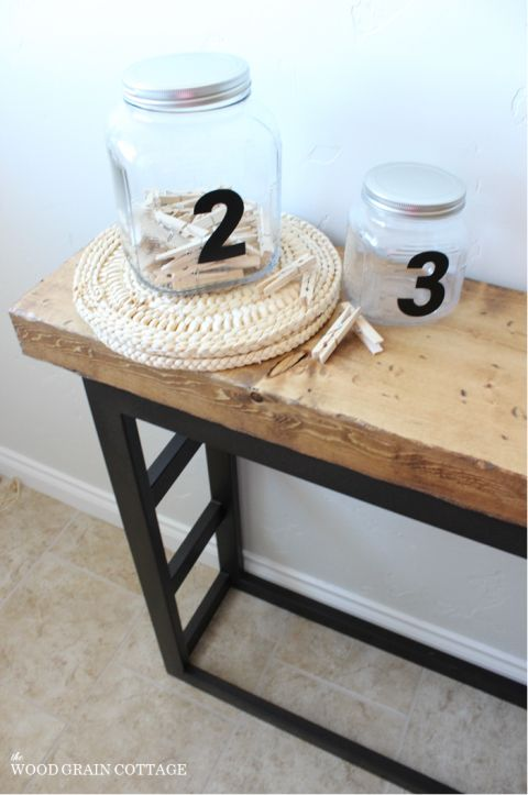 Diy laundry room side table pottery barn style cottages for Pottery barn laundry room