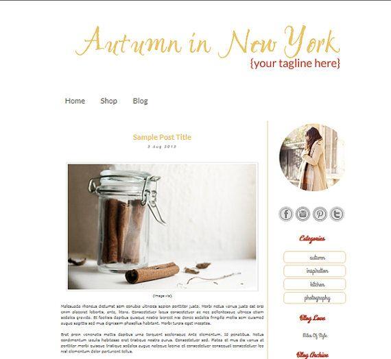 On Sale Premade Stylish 2 Column Blogger Template Autumn