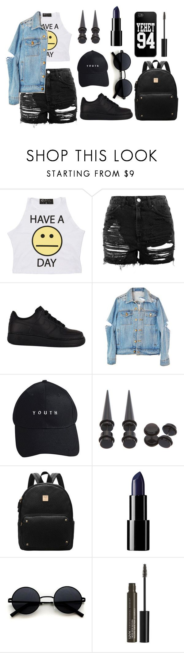 """- how's this"" by yoongismiles ❤ liked on Polyvore featuring Topshop, NIKE, High Heels Suicide, Hot Topic and NYX"