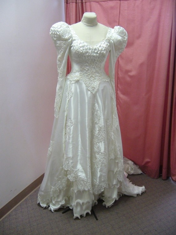 80s White Satin Puffy Sleeve Princess Wedding by BridalDiscoveries, $325.00