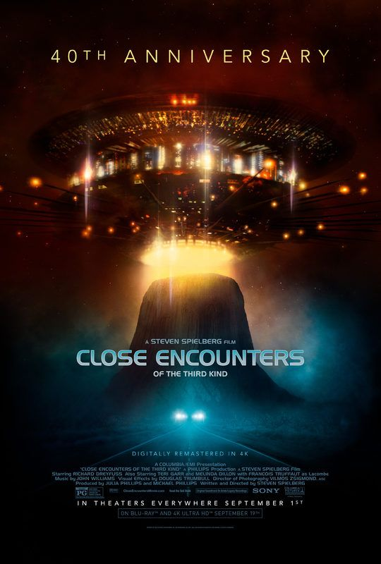 Close Encounters of the Third Kind  - 40th Anniversary (September 1, 2017) a sci-fi, drama, re-released, action film directed by Stephen Spielberg. Stars: Richard Dreyfuss,  Roy Neary, Teri Garr, Ronnie Neary, Melinda Dillon, Jillian Guiler, François Truffaut, Claude Lacombe, Bob Balaban, David Laughlin,  Lance Henriksen. After an encounter with U.F.O.s, a line worker feels undeniably drawn to an isolated area in the wilderness where something spectacular is about to happen.